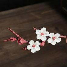 Handmade pottery and plum blossom ornaments porcelain flower accessories home decor