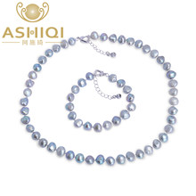 ASHIQI Real Natural Baroque Pearl Jewelry Sets Gary Black Necklace Bracelet For Women New Arrival(China)