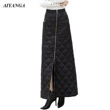 Женская длинная хлопковая юбка утепленная на молнии с эластичной