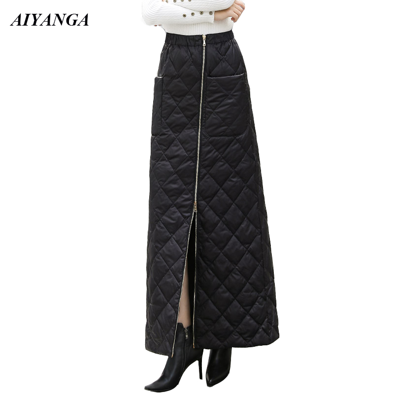 Thicken Down Cotton Skirts Womens Autumn Winter Fashion Long Skirt For Women 2019 Zipper Elastic Waist Warm Skirts Female S-3XL
