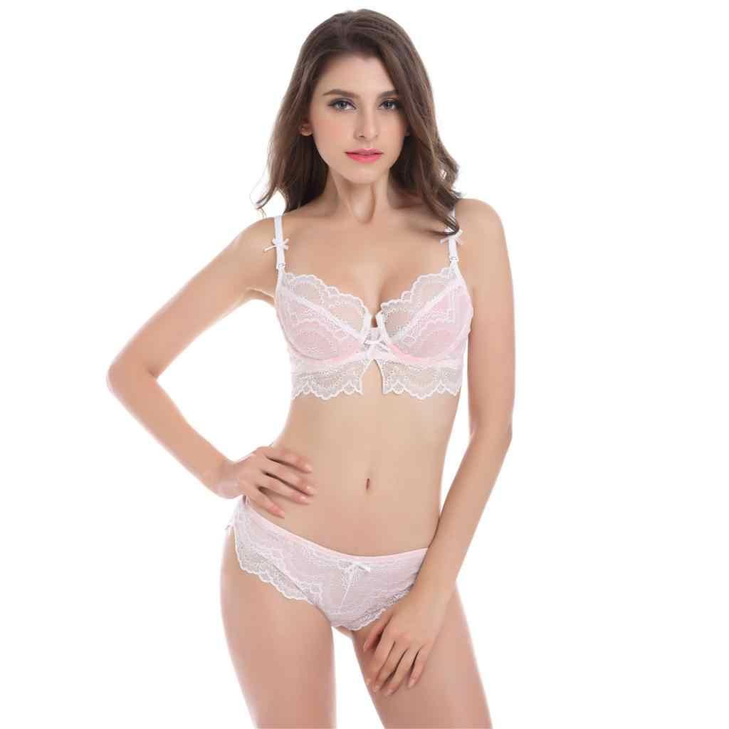 1175f3458b7e4 Lace Women Bra Set Sexy See Through lingerie Transparent Plus Size Bra and  Panty Sets 85D