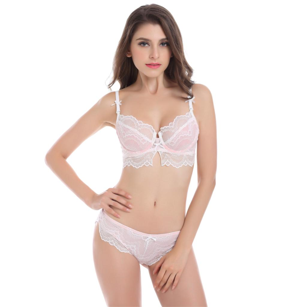 Lace Women <font><b>Bra</b></font> Set <font><b>Sexy</b></font> See Through lingerie Transparent Plus Size <font><b>Bra</b></font> and Panty Sets <font><b>85D</b></font> 75D White <font><b>Bras</b></font> Black Underwear Brand image