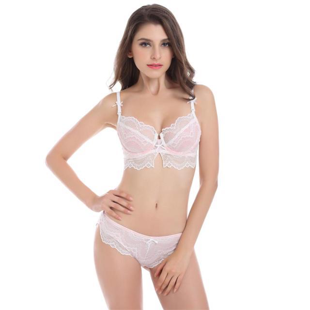 9ba640e4a Mulheres rendas Conjunto de Sutiã Sexy Ver Através de lingerie Transparente  Plus Size Sutiã e Calcinha