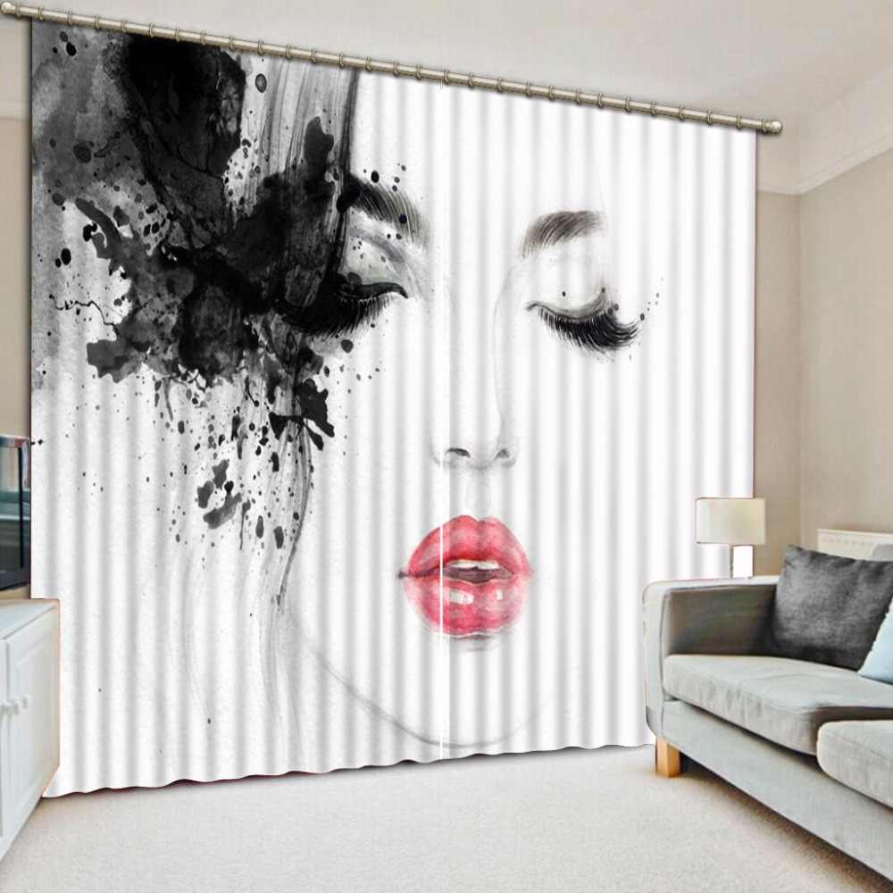 Window Treatments Living Room Curtains Creative Woman Printing Blackout Curtains For Sofa Home Hotel Drapes 3D Window Curtain