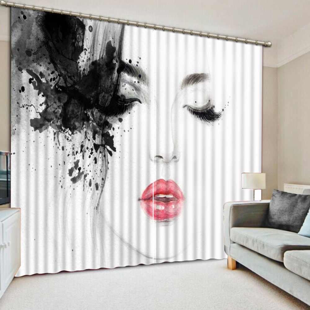 Venster Behandelingen Woonkamer Gordijnen Creatieve Vrouw Afdrukken Verduisterende Gordijnen Voor Sofa Thuis Hotel Gordijnen 3D Gordijn