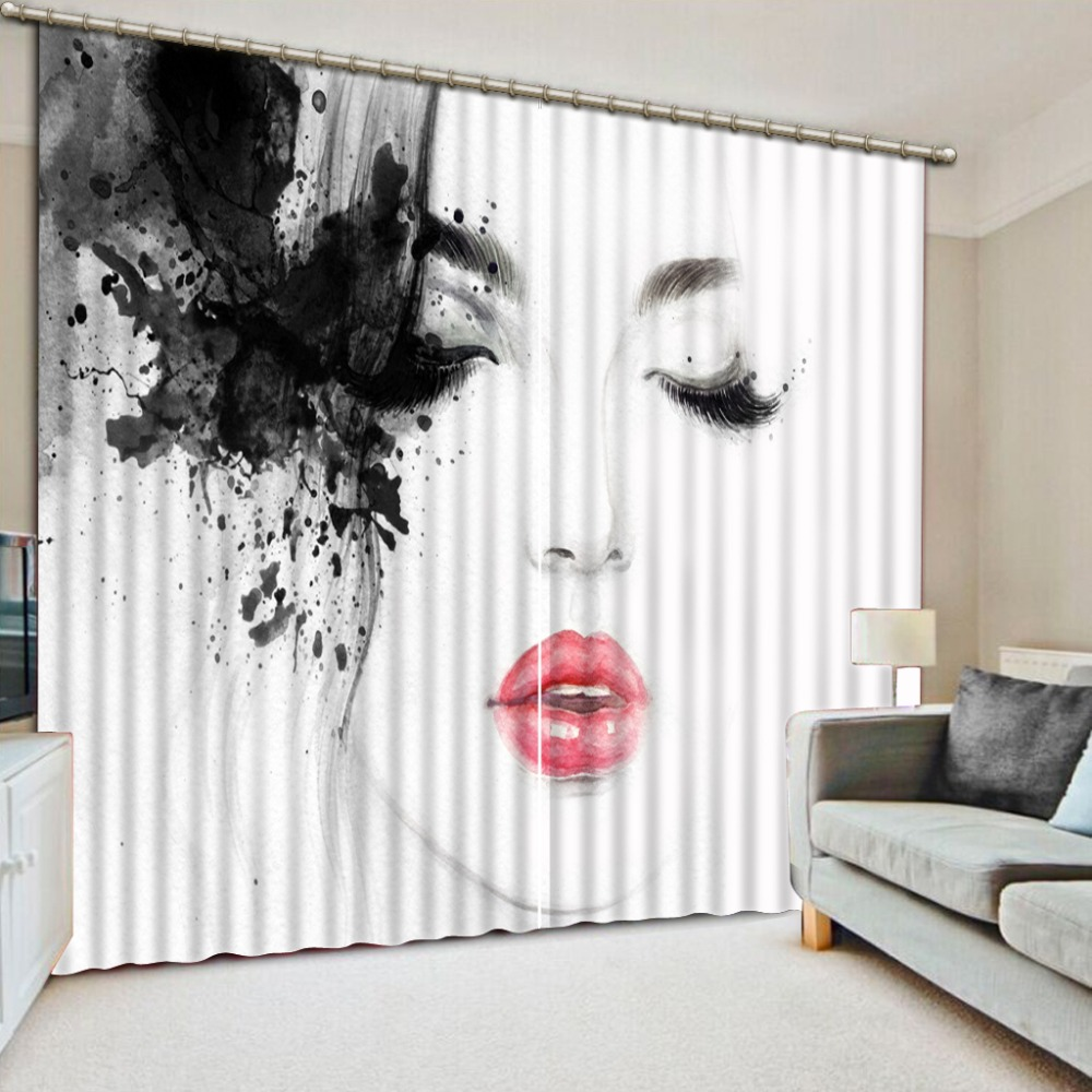Window Treatments Living Room Curtains Creative Woman Printing Blackout Curtains For Sofa Home Hotel Drapes 3D Window CurtainWindow Treatments Living Room Curtains Creative Woman Printing Blackout Curtains For Sofa Home Hotel Drapes 3D Window Curtain