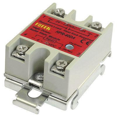 40Amps Temperature Control Solid State Relay w DIN Rail HPR-40DA normally open single phase solid state relay ssr mgr 1 d48120 120a control dc ac 24 480v