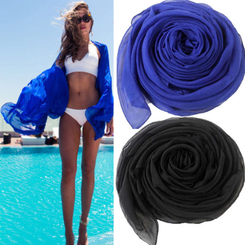 Meihuida Women Sexy Scarf Chiffon Wrap Dress Sarong Pareo Beach Bikini Swimwear Dress Black 2019 Newest