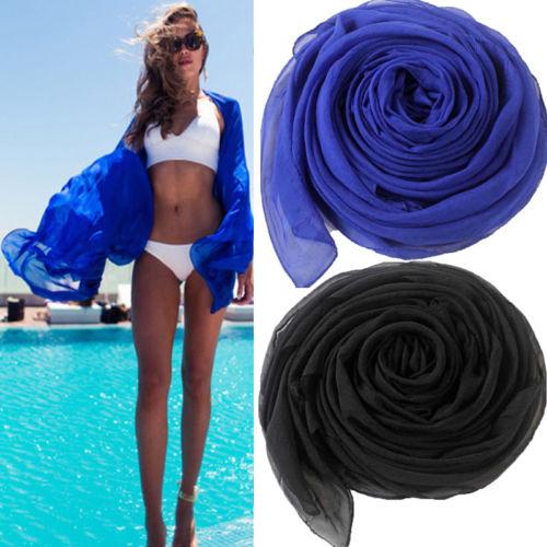 Meihuida Women Sexy Scarf Chiffon Wrap Dress Sarong Pareo Beach Bikini Swimwear Dress Black 2019 Newest