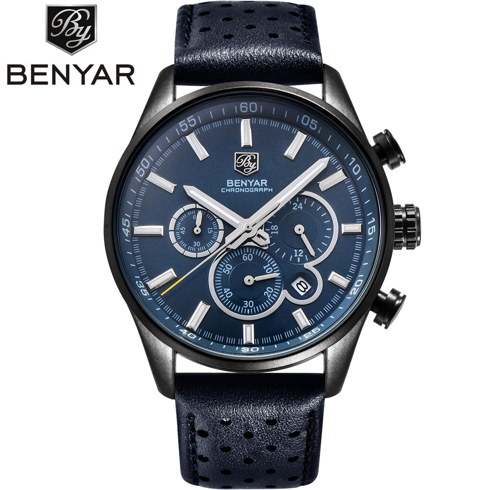 BENYAR Brand Sport Watches Men Military Chronograph Quartz Leather Business Wrist Watch Male Clock Relogio Masculino SAAT genuine curren brand design leather military men cool fashion clock sport male gift wrist quartz business water resistant watch