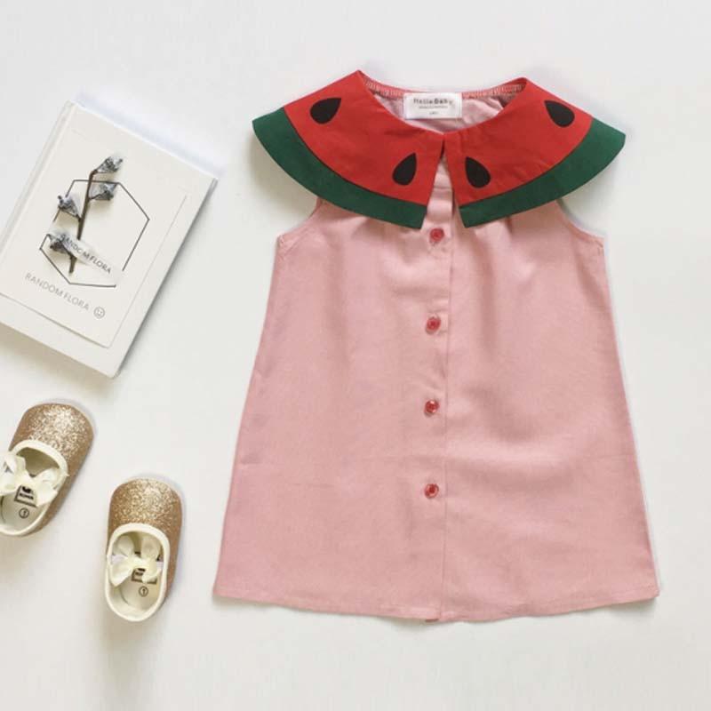 ФОТО BBK 2017 New summer Dress watermelon Princess dress girl pink cotton skrt  tutu cute A-line dresses T-shirt girls clothes C*