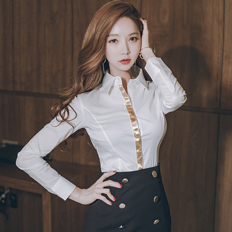 2c7ae9ca2a 2018 New Fashion Women Shirts Turndown Collar Long Sleeve Slim Office Lady  White Shirt Golden Hem Sexy Blouse Mujer Blusas