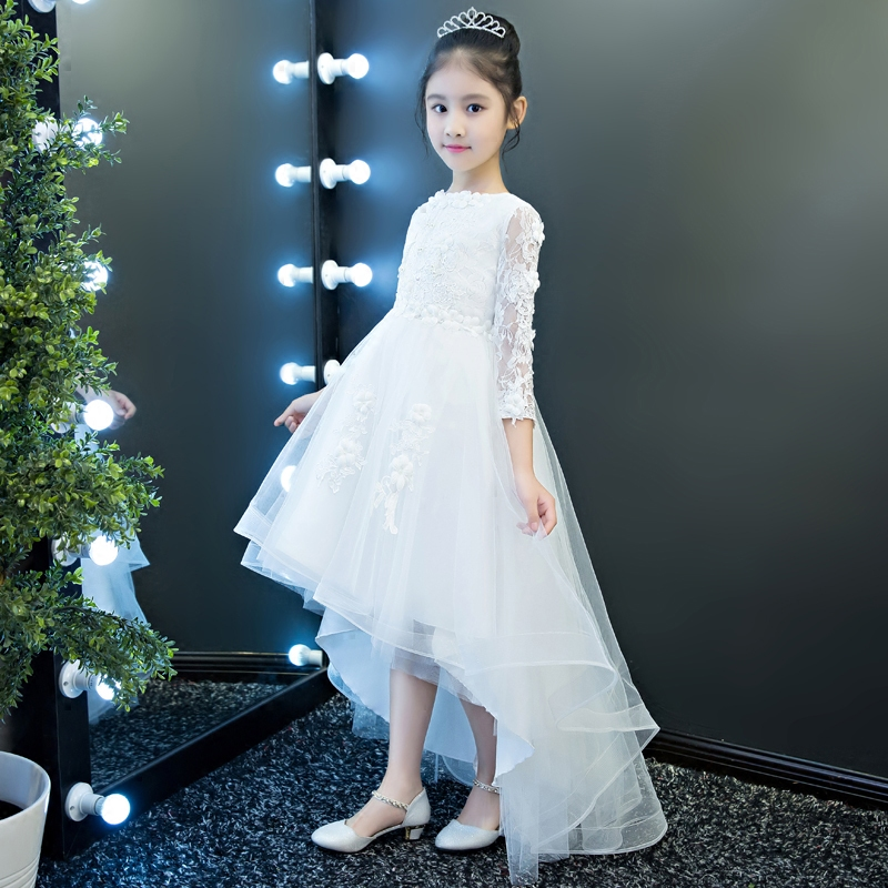 Luxury White Baby Kids Girls Flowers Princess Lace Dress Wedding Party Bridesmaid Formal Tail Dresses Graduation Birthday Gift
