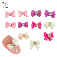 LEAMX 50pcs/bag 3D Resin Bow Decoration With Rhinestone Nail Art Jewelry Acrylic Bowknot Design Decor Nails Charms L485