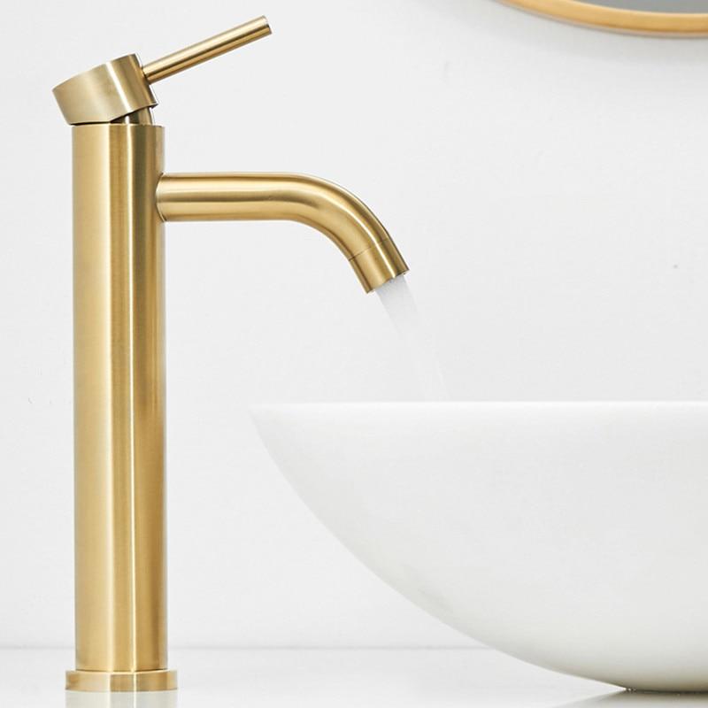 304 acier inoxydable brossé or rond Style bassin robinet d'eau salle de bain robinet unique trou longue bouche chaude froide eau mélangeur grue