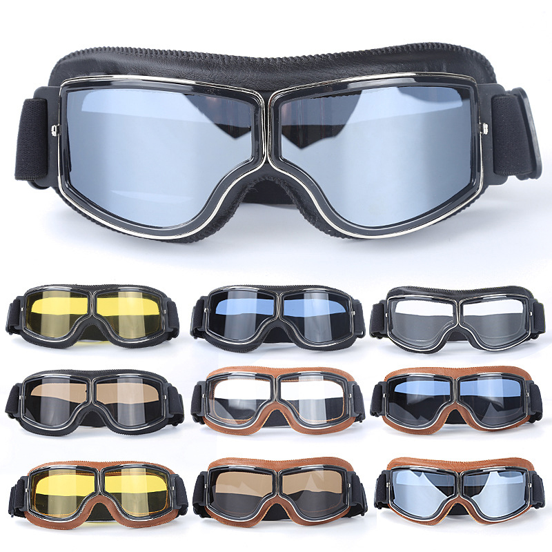 3ff5528138 Best Selling Vintage Goggles Harley Motorcycle Leather Goggles Glasses  Cruiser Folding Goggles 3 Color Leather 4 Color Lens-in Motorcycle Glasses  from ...