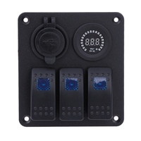 Car RV Ship 3PIN Multi Function Switch Panel USB Charger Color Display Voltage Combination Panel