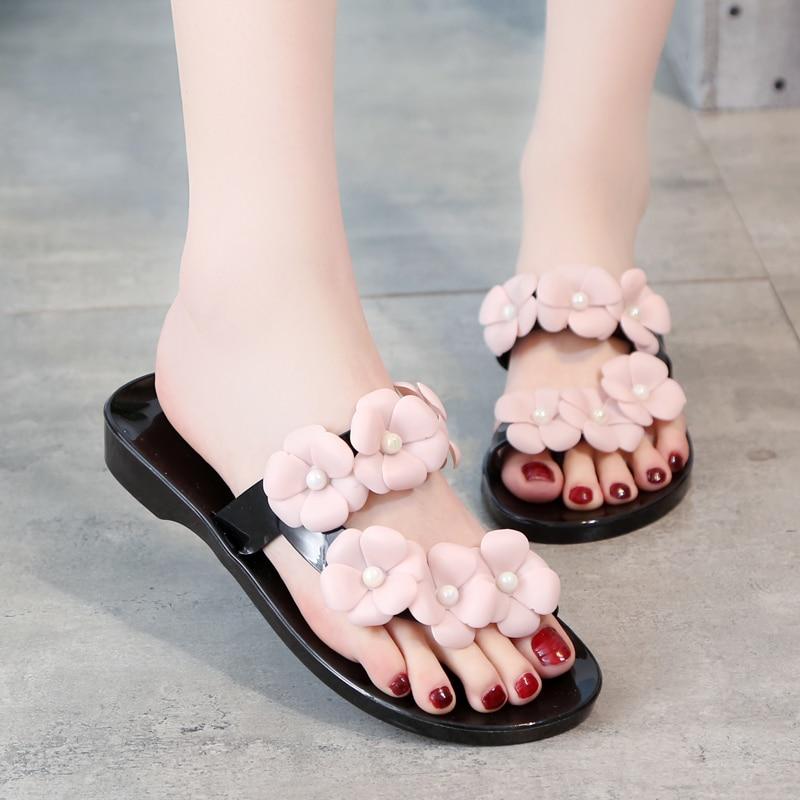 e7ed59af199765 Summer Sweet Girls Slippers Camellia Flower Women Sandals Flat Flip Flops  Bohemian Gladiator Sandals Beach Jelly Slippers -in Slippers from Shoes on  ...