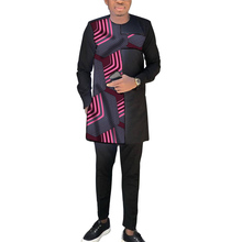 African clothing men's patchwork long shirt with black trouser Ankara formal pant sets wedding wear male dashiki outfits