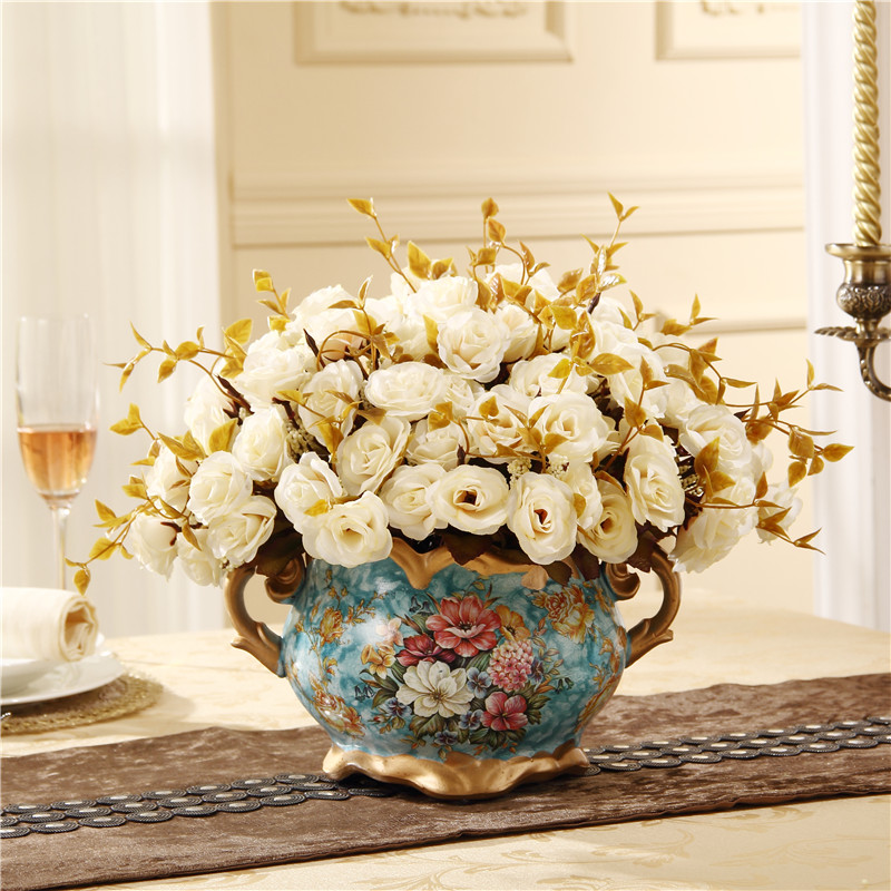 Handmade Resin Vintage Vase With Flower Printing Emboss Flower Pot