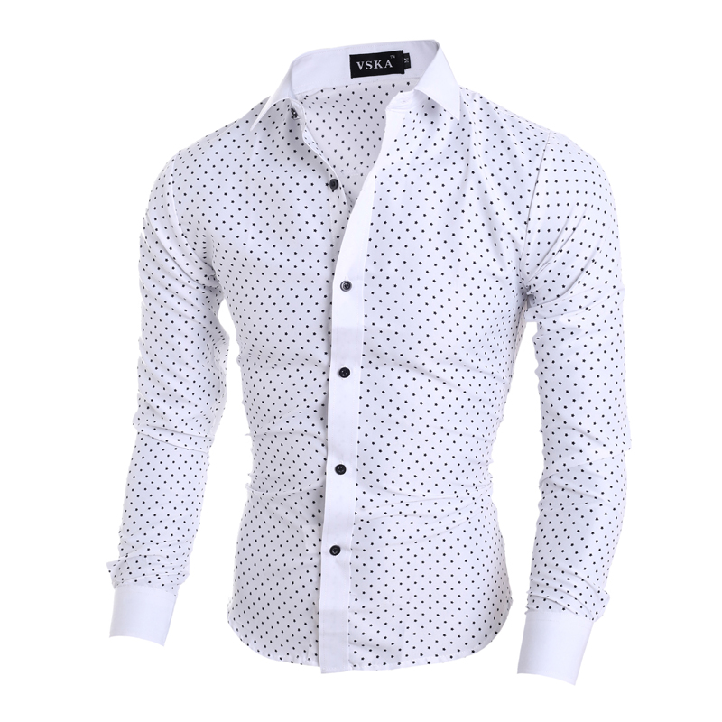5b0d13ddd10 Men Shirt Polka Dot Casual shirt 2016 Spring Autumn Mens Fashion White  Khaki Blue Dress Shirts Casual Men Shirt-in Casual Shirts from Men s  Clothing on ...