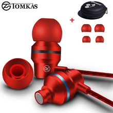 TOMKAS Earphone For Phone Sport Earphone Stereo Sound with Microphone Universal For iPhone Earphone Computer with Earphones Case