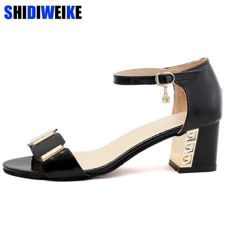 Plus Size Bohemia Summer Casual Peep Toe Women's Sandals Rhinestone Square Heel Beach Sandals Shoes Woman n916