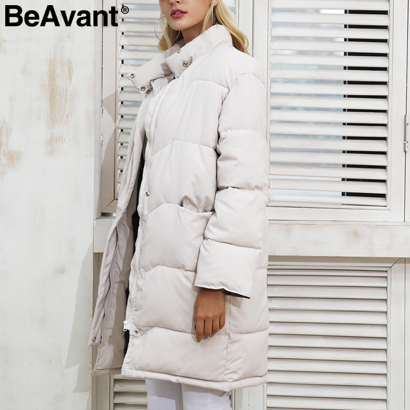BeAvant Cotton padded black   parka   Women jacket warm zipper pocket outerwear   parkas   2017 Autumn winter casual overcoat female