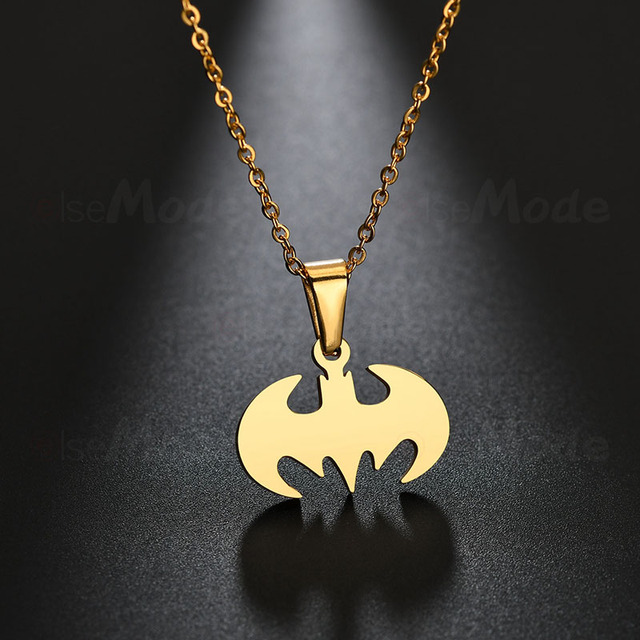 ELSEMODE Simple Cartoon Bat Wing Pendant Necklaces Men Stainless Steel Batman Super Hero Necklace Movie Charm Animal Jewelry