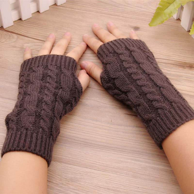 Women Warm Soft Gloves Lady Winter Autumn Arm Warmer Twist Long Fingerless Knit Mitten Practical Casual Gloves