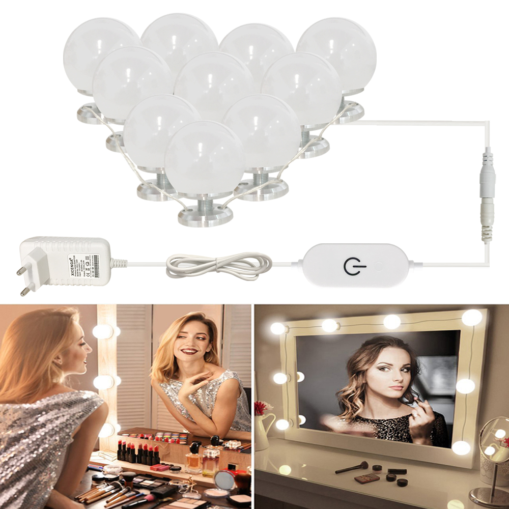 Makeup Mirror Vanity LED Light Bulbs Kit Brightness Stepless Dimmable Screw on Hide wires Make up lamps <font><b>Hollywood</b></font> Cosmetic light image