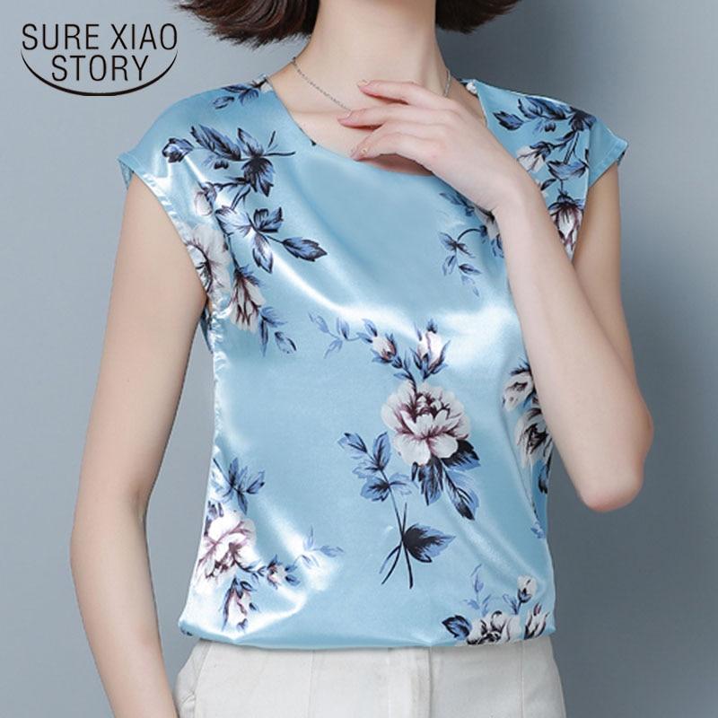 Fashion women tops and   blouses   2019 ladies tops   shirts   white   blouse     shirt   plus size Sleeveless Print   shirt   women 4340 50