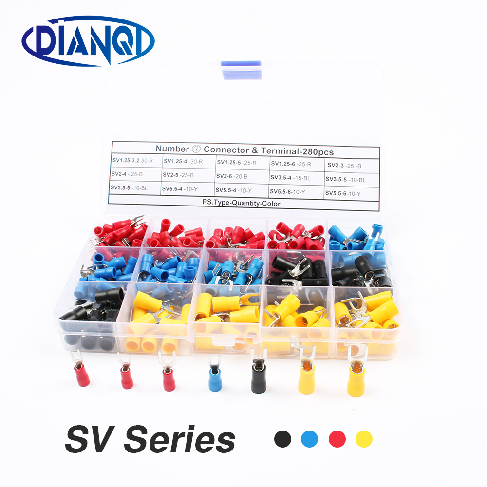 280 pcs Furcate Cable Wire Connector Furcate Pre-Insulating Fork Spade 16~14AWG Wire Crimp Terminals U-type SV Series sv1 25 3 50 pcs insulated spade terminal block connector electrical furcate pre insulated end fork crimp cable wire