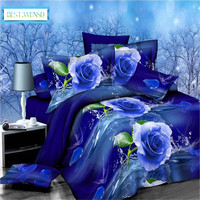 BEST.WENSD Hot Blue rose Jacquard bedding,Red 3d duvet cover+bed linen +pillowcases king quilt cover set luxury comforter set