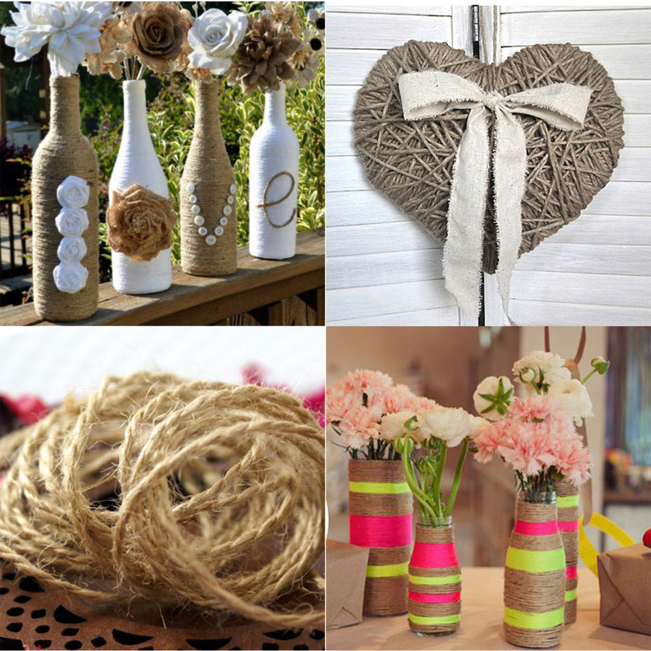 10m Pcs Jute Twine String Vintage Rustic Wedding Decoration Natural Twine Drawstring Rustic Decor Diy Supplies