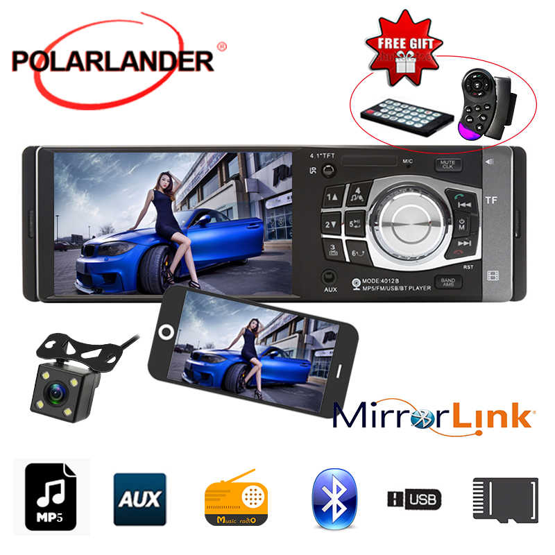 1 Din 4.1 Inch Hd Tft Screen Auto Radio Fm Usb MP4 MP5 Bluetooth Spiegel Link Alleen Voor Android stereo Radio Cassette Speler