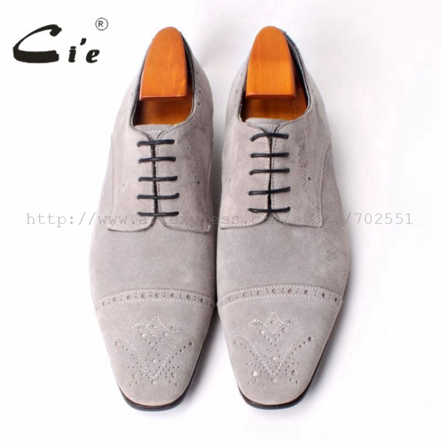 Ci'e –  Semi-Brogues, Handmade Men's Square Toe, Derby Calf Leather Out sole, Breathable Shoes, Color Light Grey Suede
