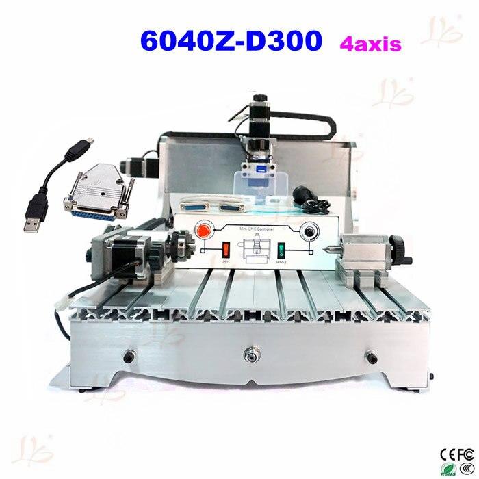 4 axis usb cnc 6040 woodworking machinery 300w drilling milling machine to eu free custom duty no tax to eu! 6040 Z-D300 4axis 110V/220V CNC milling machine cnc router + USB adpter