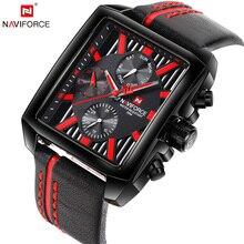NAVIFORCE Top Luxe Merk Mannen Quartz Horloge Datumweergave Horloge Creatieve Vierkante Saat Waterdicht Mannelijke Klok Relogio Masculino