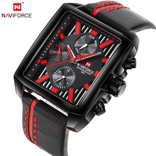 NAVIFORCE Top Luxury Brand Men Quartz Watch Date Display Wristwatch Creative Square Saat Waterproof Male Clock Relogio Masculino