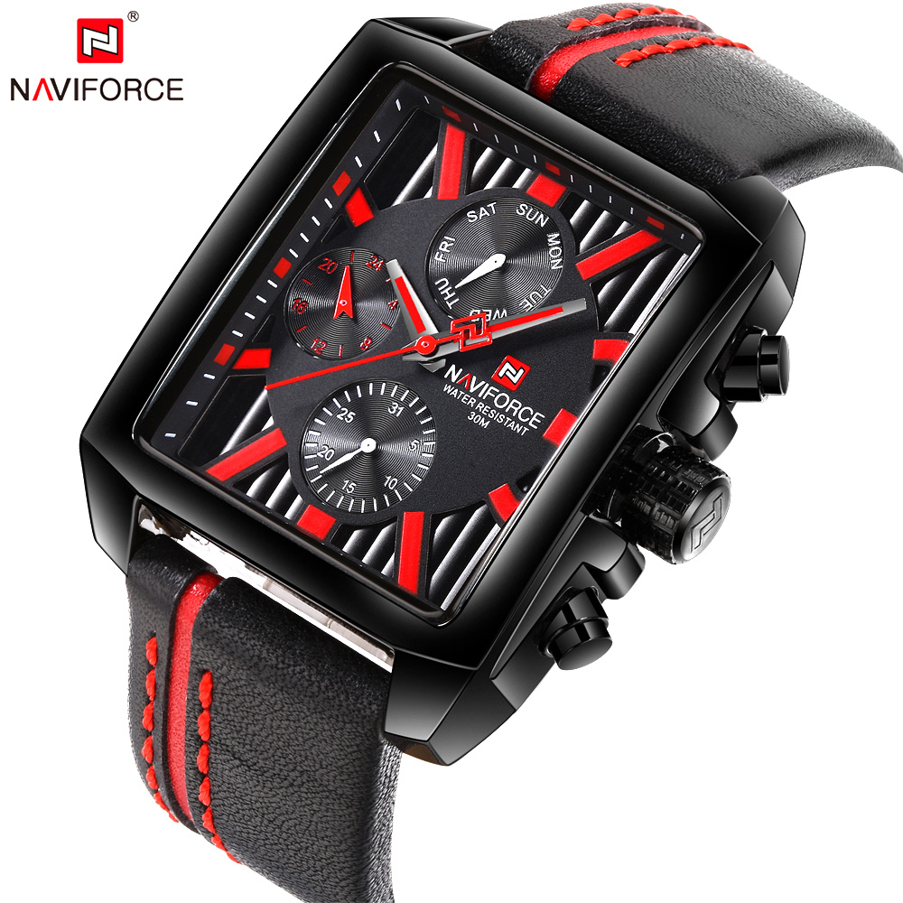 NAVIFORCE Top Luxury Brand Mens Watch Sport Quartz Wristwatch Date Display Leather Strap Fashion Male Clock Relogio Masculino mens watch top luxury brand fashion hollow clock male casual sport wristwatch men pirate skull style quartz watch reloj homber