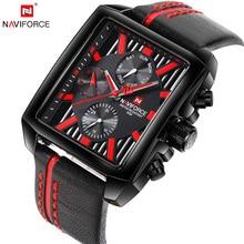 Reloj de cuarzo marca NAVIFORCE de lujo para hombres, reloj de pulsera con indicador de fecha, reloj de pulsera cuadrado creativo Saat, reloj Masculino resistente al agua