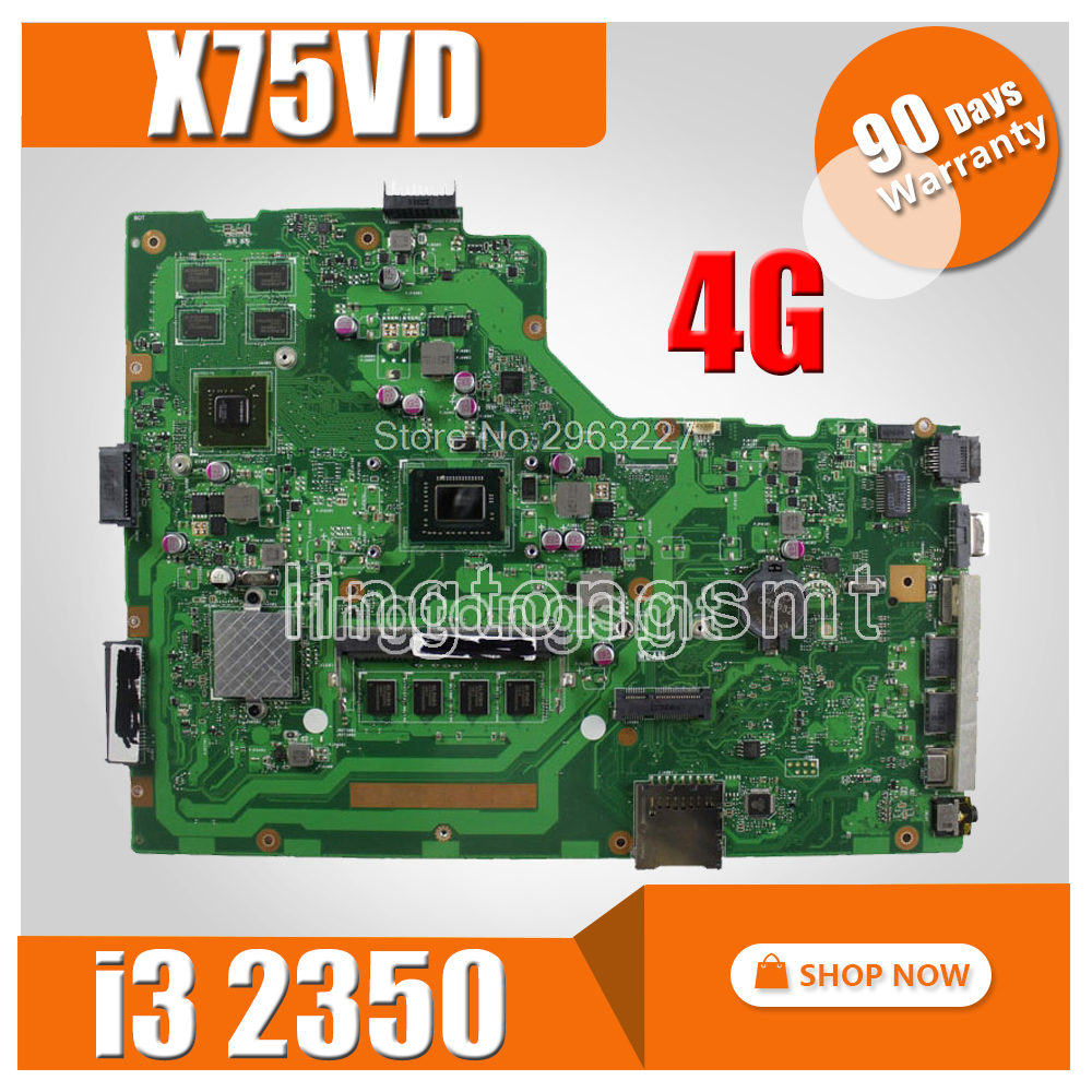 X75VD Motherboard REV 3.1 i3 cpu 4GB For ASUS X75V X75VC X75VB Laptop motherboard X75VD Mainboard X75VD Motherboard test 100% OK original for asus x75vd motherboard x75vd rev3 1 mainboard processor i3 2350 gt610 1g ram 4g memory on board 100% test