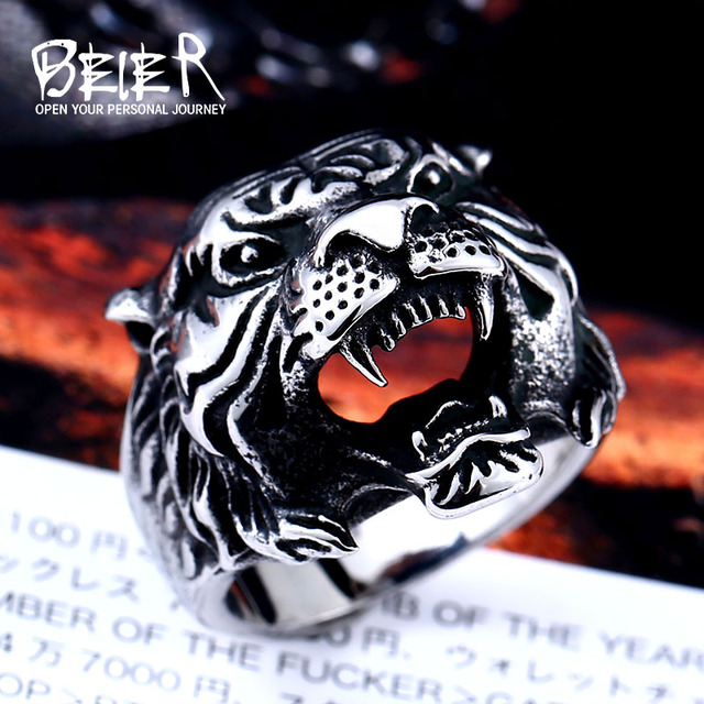 Beier new store 316L Stainless Steel ring top quality animal biker ring tiger Fa