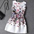 Летнее платье 2016 новый стиль девушки одежды младенца платья без рукавов бабочка цветок одеяние fille enfant детская одежда