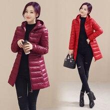 Новый 2016 осень зима пальто женщин тонкий средней длины с капюшоном куртка женская плюс размер тонкий верхняя одежда парки