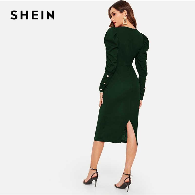 Платье SHEIN с пуговицами, с рукавами-бабочками, с разрезом, Стильное зеленое однотонное весенне-осеннее платье, женские платья-карандаши
