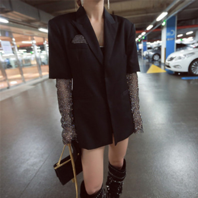 LANMREM 2019 Autumn New Casual Fashion Temperament Women Loose Nail Drill Mesh Sleeve Stitching Thin Section Suit Jacket TC742