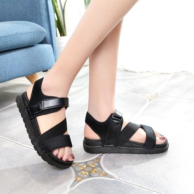 Summer Sandalias Mujer 2019 Shoes Woman Classics Gladiator Hook Loop Sandals Women Shoes Casual Flat Platform Block Heel Shoes 1