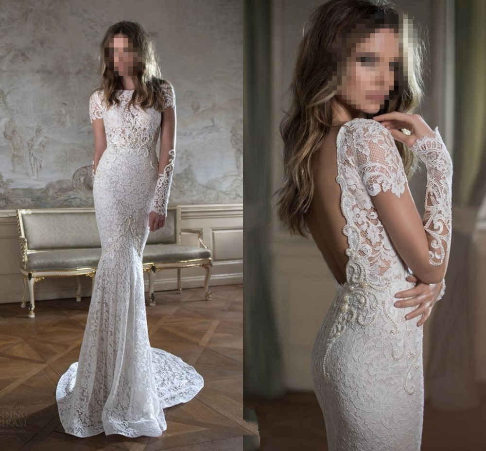 Scoop Neck Long Sleeve White Ivory Lace Mermaid Wedding Dress Gowns Custom Size